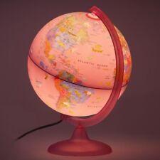 Pink Illuminated World Globe For Kids ~ Animals & Illustrations Desk Night Light