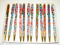 NEW 10PCS TRADITIONAL CHINESE HANDMADE CLOISONNE FLOWERS PATTERN BALL PENS