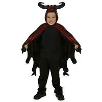 Child Boy's Diablo Red Demon Dragon Devil Halloween Costume Hooded Horn Cape