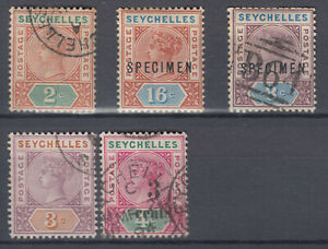 British Colony Seychelles with scarce values 2 Specimens stamp collection used