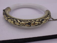 Antique Chinese Export Sterling Silver Repousse Jadeite Jade Bangle Bracelet #2