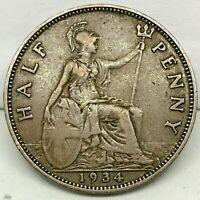 1934 GREAT BRITAIN ,GEORGE V (1/2) HALF PENNY, BRONZE COIN - KM# 837