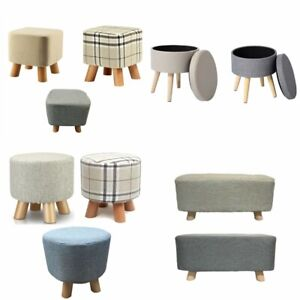 Fabric Padded Wooden Footstool Ottoman in Square Round Wooden 4 Legs in 4 styles