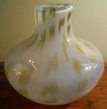 Vintage Large Hand Blown Makora Poland White & Golds Art Glass Vase Excellent