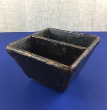 Primitive Small Chinese Wood Rice Grain Bucket Basket Hewn Joints Metal Corners