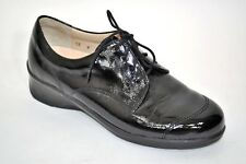 LN Finn Comfort Black Patent Leather Oxfords Low wedge heel Sz 4/6 US womens