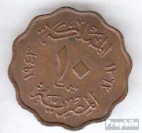 Ägypten KM-Nr. : 361 1938 sehr schön Bronze 1938 10 Milliemes Farouk