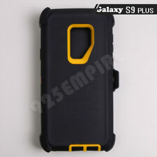 For Samsung Galaxy S9 Plus Black/Yellow Defender Case (Clip Fits Otterbox)