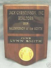 5 x 8  real walnut engraved plaque REAL ESTATE award