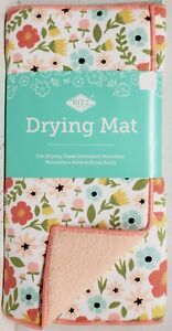 """Microfiber Drying Mat (14"""" x 21"""") EASTER TOSS CORAL,COLORFUL FLOWERS, pink, Ritz"""