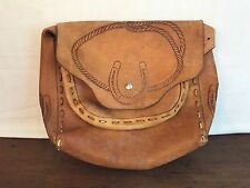 Vintage Hand Tooled Leather Handbag Horse Saddle Purse (B1)