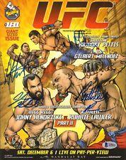 ROBBIE LAWLER JOHNY HENDRICKS SIGNED AUTO'D MINI POSTER BAS COA UFC 181 PETTIS +