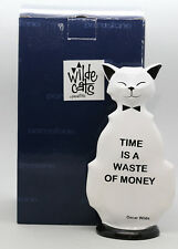 "Oscar Wilde Inspired Cat Sculpture Hand Painted ""Time is A Waste Of Money"""