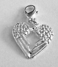 LOVELY SILVER ANGEL WINGS HEART CLIP ON CHARM FOR BRACELETS -  SILVER ALLOY