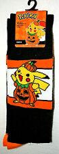 1 Pair Pokemon Pikachu Halloween Pumpkin Crew Socks Fits Shoe sz 6.5-12 New
