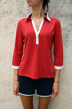 MARINA Yachting Donna 3/4 Maniche Lunghe Rosso Bianco CASUALS Top Stretch authentic L