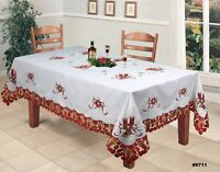 Holiday Christmas Poinsettia Candle Bell Tablecloth With Napkins White Red