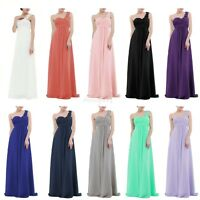 Women;s Chiffon One-shoulder Long Bridesmaid Dress Long Evening Party Prom Gown