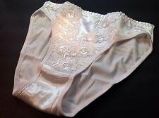 """Women Panties,Bikinis """"Eva Cervantes"""" Size L. White Satin Floral W/decoration"""