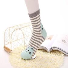 Mujeres casual gato huellas rayas de algodón Cartoon calcetines blandos