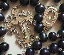 Black Tahitian (AAA 10MM) Real Pearl BEAD Lourdes ROSARY CROSS GIFT NECKLACE Box