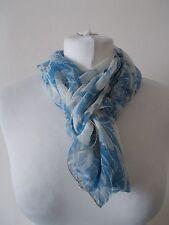 Women's Blue White Flower Pattern Scarf Sheer 15 x 59 inch