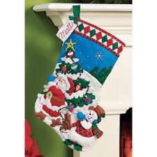 "Bucilla 16"" Christmas Felt Stocking Kit ""Pick A Tree"" Santa Snowman  Tree"