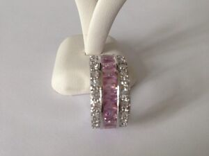 """STUNNING! SILVER R/P PINK/CLR FULL ETERNITY BAND CZ RING SIZE """"T/U"""""""