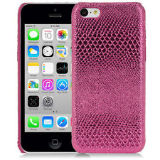 HOT PINK GLOSSY LIZARD SKIN-INSPIRED LEATHER BACK CASE FOR APPLE iPHONE 5C