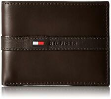 New Tommy Hilfiger Men's Ranger Leather Passcase Bifold Wallet Brown