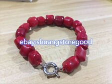 New Natural Red Coral Bead Cylinder Choker Gemstone Bracelet 7.5'' AA++