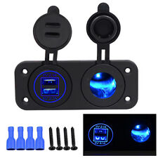 Auto Dual USB Cigarette Lighter Socket 12V Charger Power Adapter Outlet ATV Boat