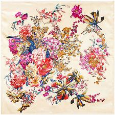 "Women's Beige Vintage Flower Printed Silk-Satin Square Head Scarf 35""*35"""