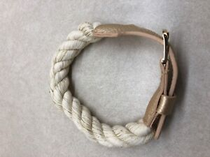 Anthropologie Gold Rope Leather Dog Collar New