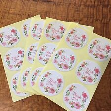 SET OF 24 PINK FLORAL THANK YOU STICKER SEALS 35MM DIAMETER