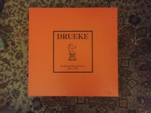 New Old Stock Large Drueke Solid Wood Chess Board Game Box Dominoes Cribbage USA