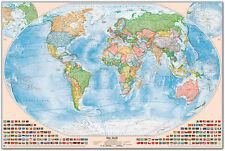 Politische Weltkarte, 150 x 100 cm, deutsch, Pinnwand im Alurahmen