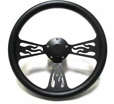 1978 -1998 Dodge Chrysler Plymouth Steering Wheel Black Billet Flames Full Kit!