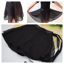 Black Ballet Skirt.Dance Skirt.Chiffon Wrap-over Skating Tu Tu.UK.One Size