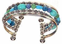 Carolyn Pollack Blue Multi Gemstones Sterling Silver Cuff One Size Fits All
