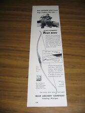 1958 Print Ad Bear Glass Powered Hunting Bows Fred Bear & Grizzly Bear