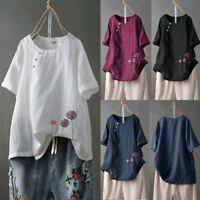 Womens Cotton Plus Size Embroidery O-Neck Button Linen Baggy Casual Blouse Tops