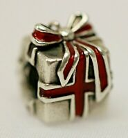 Pandora ALE 925 Sterling Silver & Red Enamel Wrapped Present Charm 791086EN27