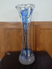 Polish Art Glass Tall Vase Heavy Clear/Blue Paperweight Base Polished Bottom