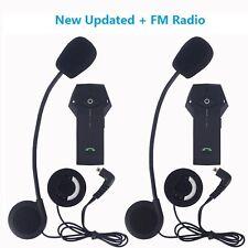 2x 1000M Motorcycle Helmet Bluetooth Interphone Motorbike Intercom NFC+FM Radio