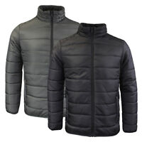Mens Brave Soul Bubble Padded Winter Puffer Jacket In Black & Charcoal AW18
