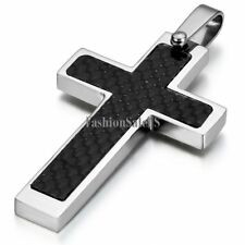 Silver Stainless Steel Black Carbon Fiber Cross Pendant Men's Necklace Chain