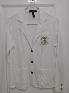 Ralph Lauren Women's White Blazer - Size PM -