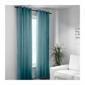 "RARE IKEA Sanela Teal Turquoise Blue Velvet Grommet Curtain 55 x 118"" Set/ 2"