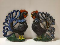 VINTAGE CAST IRON ROOSTER - Black Rooster Blue Tail - DECOR - Set of 2